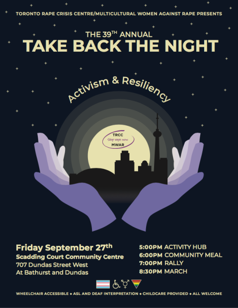poster for take back the night, Friday, September 27, Scadding court Community Centre, at bathurst and dundas, 5pm activity hub, 6pm community meal, 7pm rally, 8:30pm March, wheelchair accessible, ASL and Deaf interpretation, Childcare provided, all welcome
